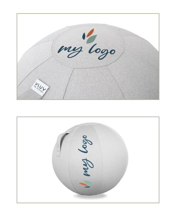 הדפסת משי של לוגו על כדור ישיבה 3 VLUV