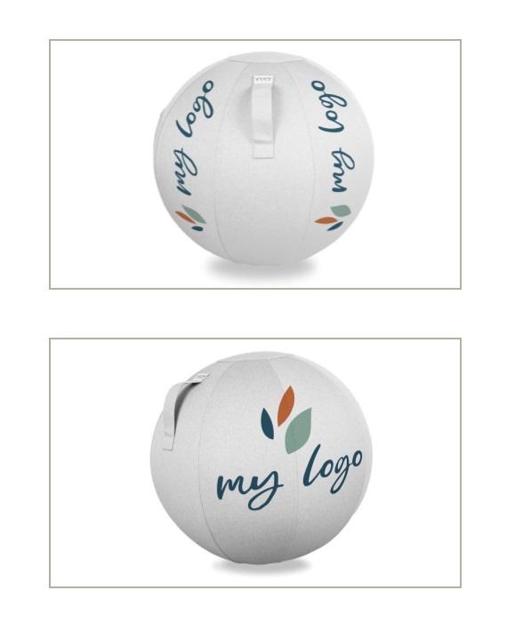 הדפסת משי של לוגו על כדור ישיבה 4 VLUV